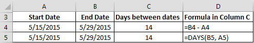DAYS Between Dates - EXCEL