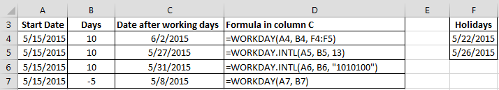 WORKDAY Function - EXCEL