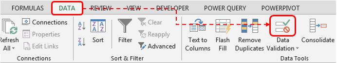 Data Validation Tab - Excel