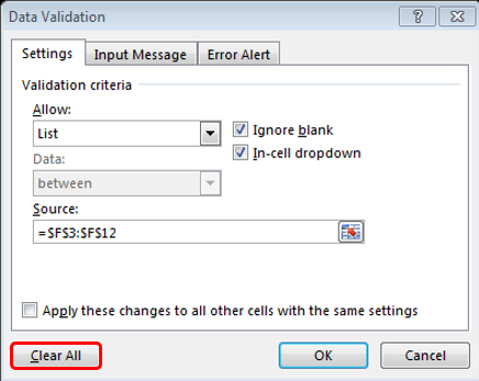 Excel Data Validation - Clear All