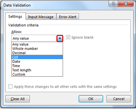 Excel Data Validation Criteria - List