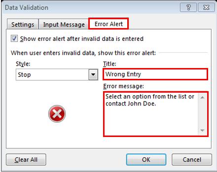 Excel Data Validation - Wrong Entry Dialog Box