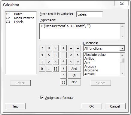 Minitab - Calculator IF Formula