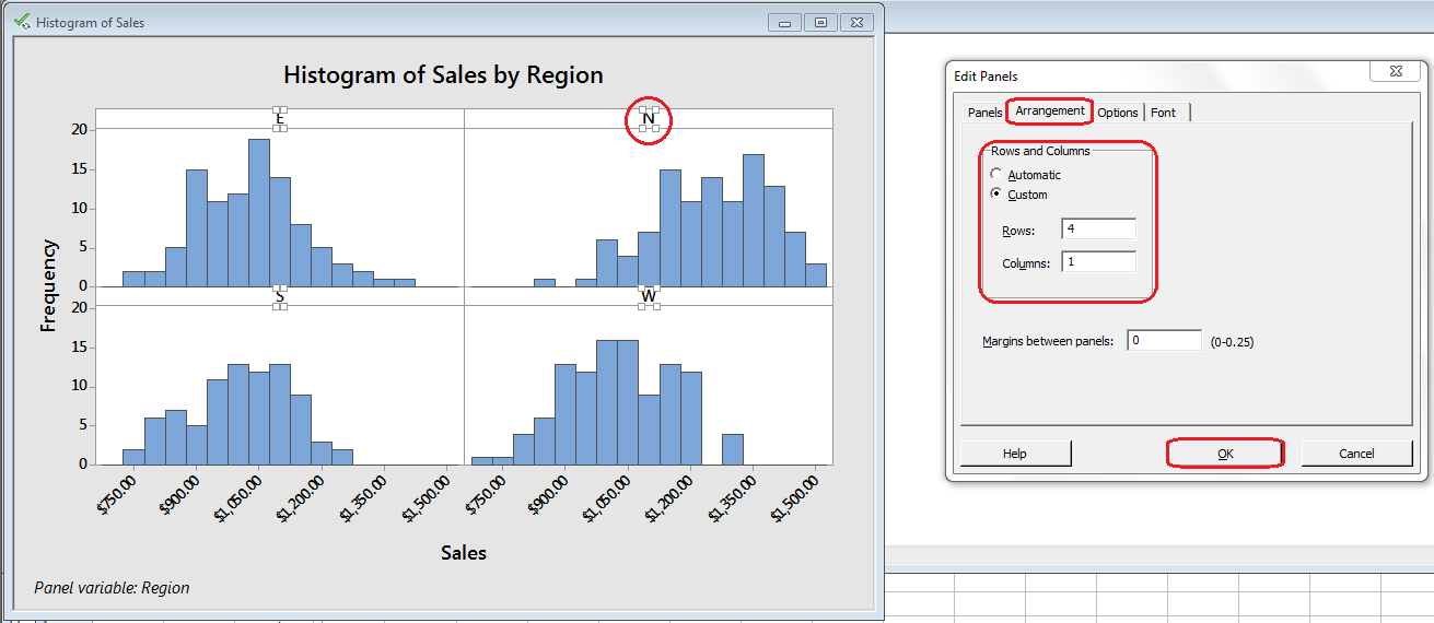 Minitab - Change layout of panels