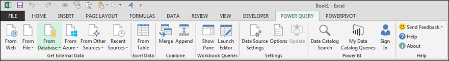 Power Query tab in Excel 2013