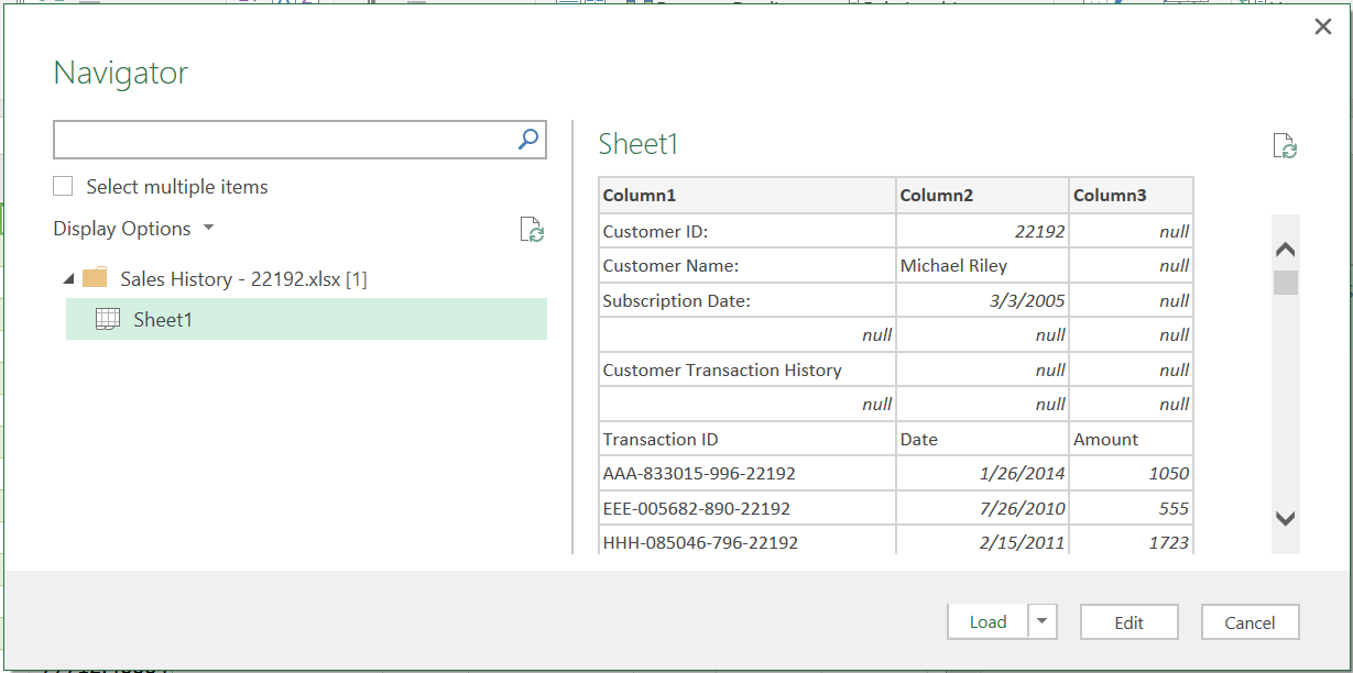 Import excel files with a dynamic starting row - Master Data Analysis