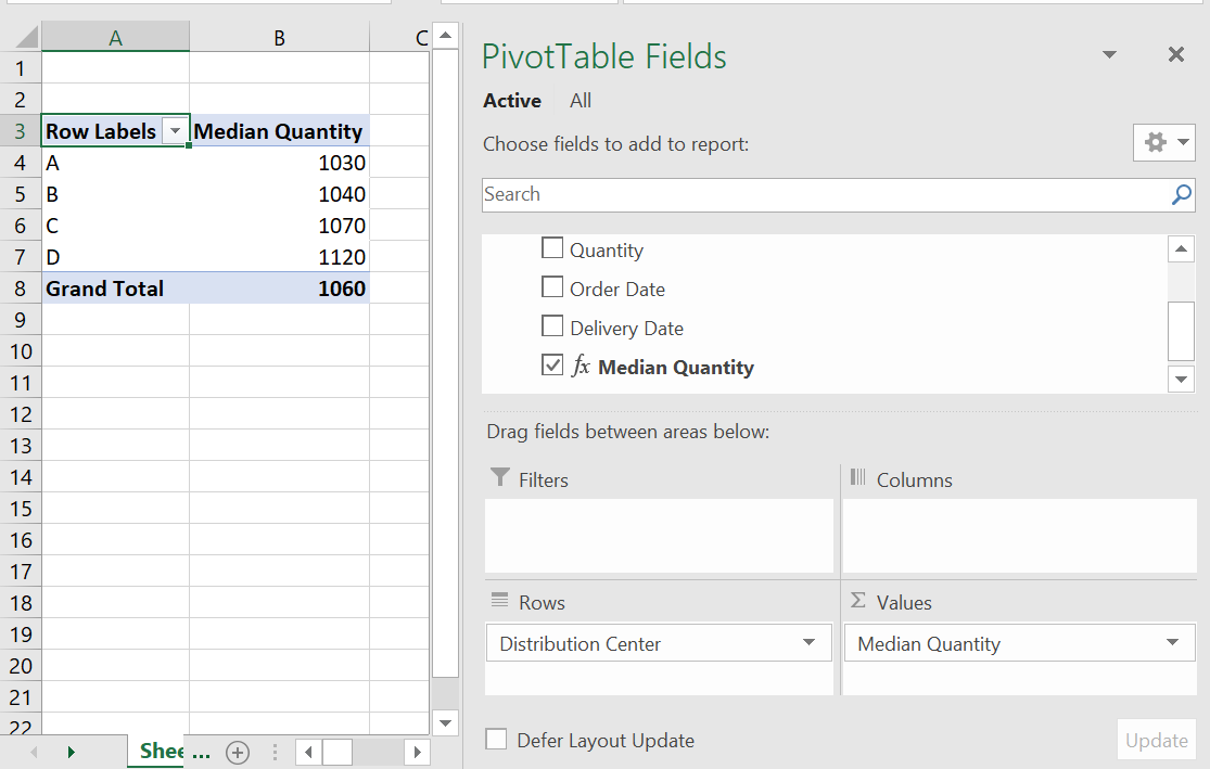 Calculating the median in Excel PivotTables - Master Data