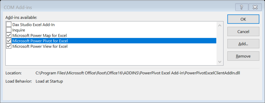 Check box to activate Power Pivot in Excel